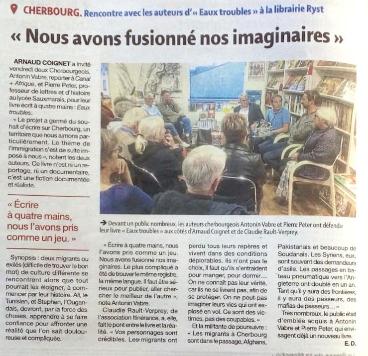 Eaux troubles dédicace librairie Ryst La Presse de la Manche